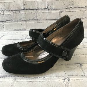 Naturalizer Black Leather Mary Jane Heels Retro 8
